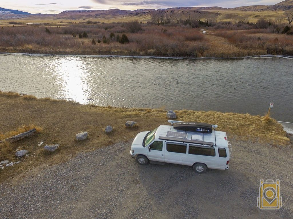 USA Road Trip Planner: Our white van alongside the Madison River in Montana