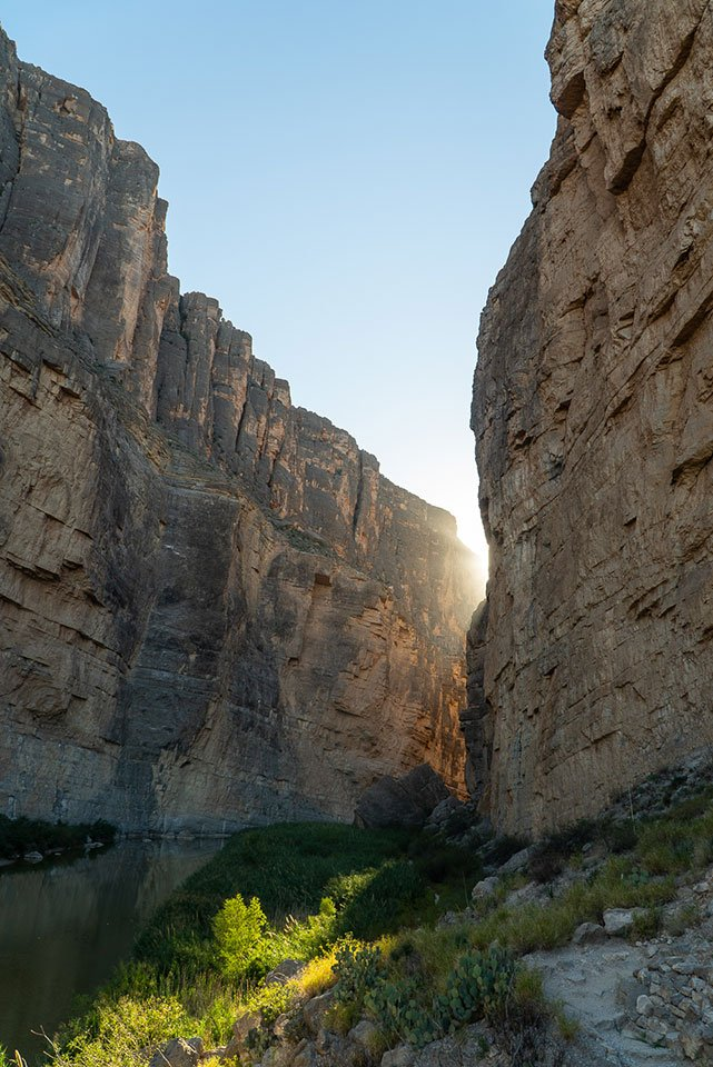 Things to do in Big Bend national park: Watch a sunset in Santa Elena Canyon. The walls of the canyon turn shades of gold.