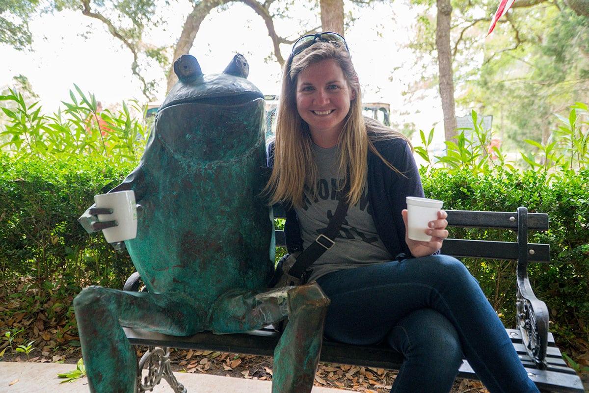 Tiffany and Waddy the Frog at Charleston Tea Plantation