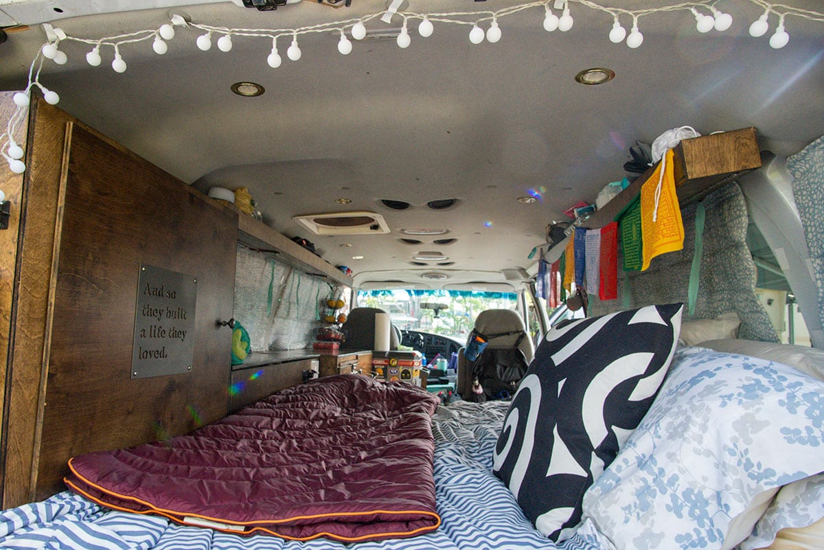 "van life accessories: a photo of the van's ""Bedroom"""