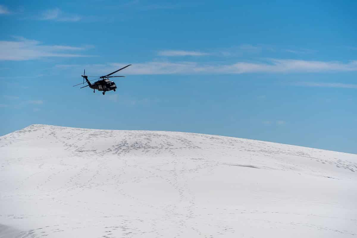 Visiting White Sands national monument, new mexico: Helicopter Overhead